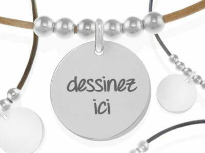 bijoux 0026 bijoux personnalises collier 6 boule argent 400x300 - Collier personnalisé cuir 6 perles naturelles et cuir : dessinez votre bijou
