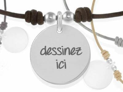 bijoux 0027 bijoux personnalises collier cuir argent 400x300 - Collier personnalisé cuir : Dessinez votre bijou