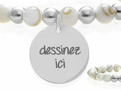 bijoux 0003 dessinez nacre 400x300 - Bracelet personnalisé nacre et argent massif