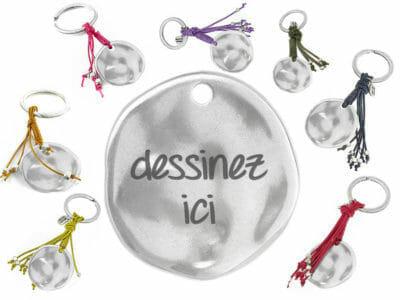 bijoux 0007 dessinez porte cles fringe ir 400x300 - Porte-clés personnalisé rond avec franges de différentes couleurs irrégulier dessinez votre porte-clés