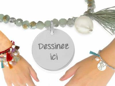 bijoux 0008 dessinez little passion 400x300 - Bijou personnalisé , Bracelet Little passion en boule de cristal avec une perle naturelle et pompon