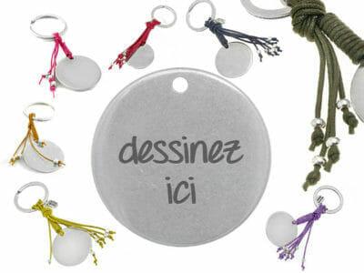 bijoux 0012 dessinez porte cles fringe 400x300 - Porte-clés personnalisé rond franges en cuir dessinez votre porte-clés