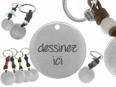 bijoux 0015 dessinez porte cles cuir plain 400x300 - Porte-clés personnalisé cuir rond dessinez votre porte-clé