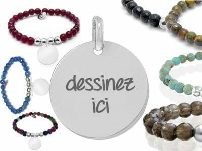 bijoux 0021 dessinez pierre naturelle 400x300 - Bijou personnalisé : Bracelet en pierres naturelles et boules en argent massif dessinez votre bracelet