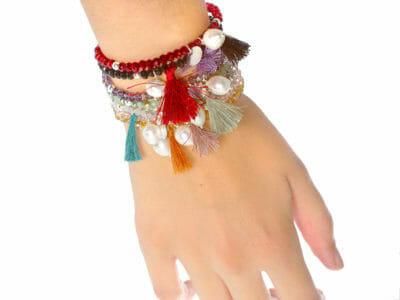 crea little p 4 400x300 - Bijou personnalisé , Bracelet Little passion en boule de cristal avec une perle naturelle et pompon