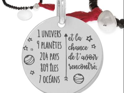 1 univers 9 planète 400x300 - Cadeaux personnalisés : Bracelet noir avec pompon 1 univers, 9 planètes