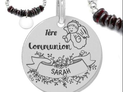 1ere communion prénom 400x300 - Cadeaux personnalisés : Bracelet boules d'argent et pierres 1ère communion (prénom)