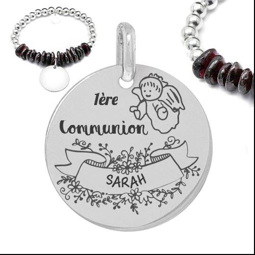 1ere communion prénom - Cadeaux personnalisés : Bracelet boules d'argent et pierres 1ère communion (prénom)