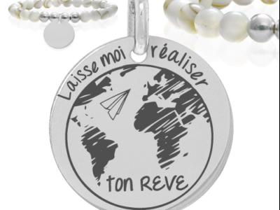 Laisse moi réaliser ton Rêve 400x300 - Cadeaux personnalisés : Bracelet boules nacres et argent Laisse moi réaliser ton rêve