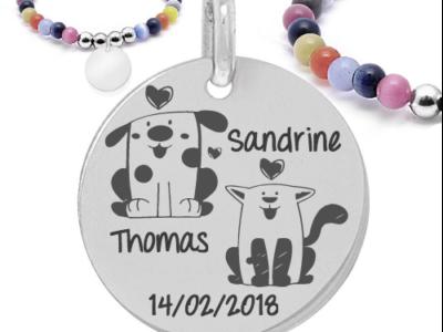 Mariage prénom chiendate 400x300 - Cadeaux personnalisés : Bracelet boules multicouleurs Prénom/date amoureux chien