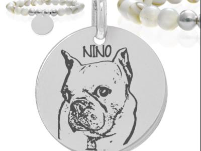 Nino chien 400x300 - Cadeaux personnalisés : Bracelet nacres et perles NINO