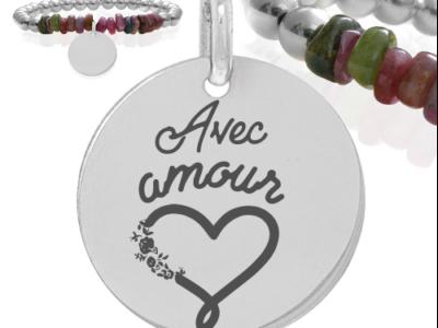 avec amour 400x300 - Cadeaux personnalisés : Bracelet pierres naturelles et boules argent Avec amour