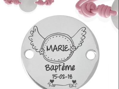 baptême datenom 400x300 - Cadeaux personnalisés : Bracelet ajustable rose baptême date/nom