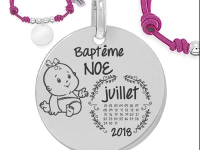 baptême nomcalendrier fille 400x300 - Cadeaux personnalisés : Bracelet ajustable rose et boules argent baptême calendrier/nom fille