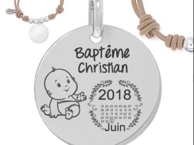 baptême prénomcalendrier garçon 400x300 - Cadeaux personnalisés : Bracelet ajustable marron et boules argent baptême calendrier/nom garçon