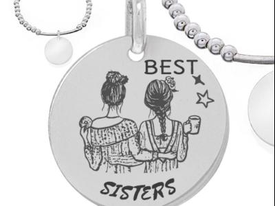 best sister 400x300 - Cadeaux personnalisés : Bracelet boules d'argents et tube en argent best sisters