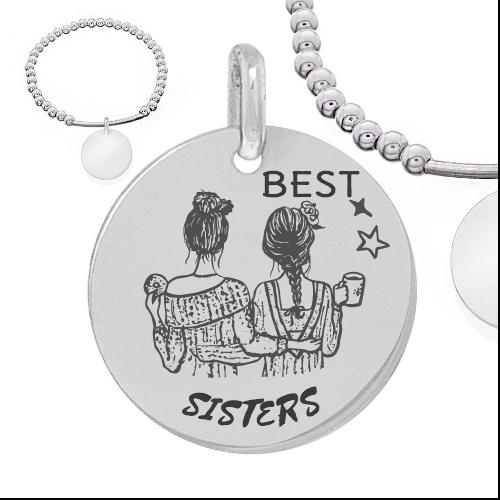 best sister - Cadeaux personnalisés : Bracelet boules d'argents et tube en argent best sisters
