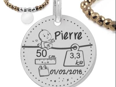 caractéristique bébé garçon 400x300 - Cadeaux personnalisés : Bracelet brillant caractéristique bébé garçon