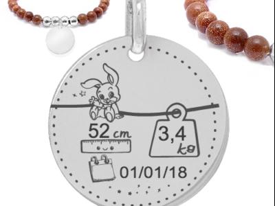 caractéristique bébé lapin 400x300 - Cadeaux personnalisés : Bracelet marron boules argent-Lapin poids/taille/prénom/date bébé