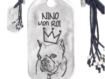 chien perso mon roi 400x300 - Cadeaux personnalisés : Porte-clés rectangle irrégulier franges Nino mon roi