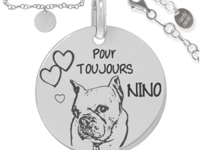 chien perso pour toujours 400x300 - Cadeaux personnalisés : Bracelet chaine torsadée argent massif pout toujours nino