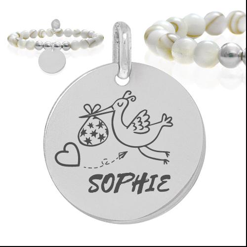 cigogne et prénom - Cadeaux personnalisés : Bracelet en nacre et argent cigogne et prénom