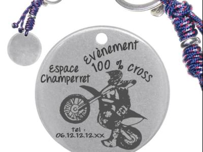 évènement cross 400x300 - Cadeaux personnalisés : Porte-clés rond évènement sportif cross