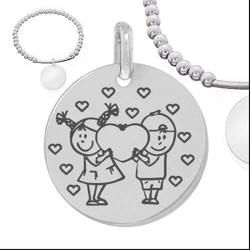 enfants amoureux avec coeurs - Cadeaux personnalisés : Bracelet en boules et tube d'argent massif garçon et fille-amours