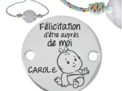 félicitation dêtre auprès de moiprénom 1 400x300 - Cadeaux personnalisés : Bracelet ajustable Félicitation d'être auprès de moi