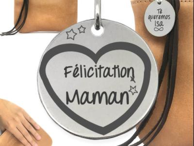 félicitation maman 2 400x300 - Cadeaux personnalisés : Sac franges marron félicitation maman