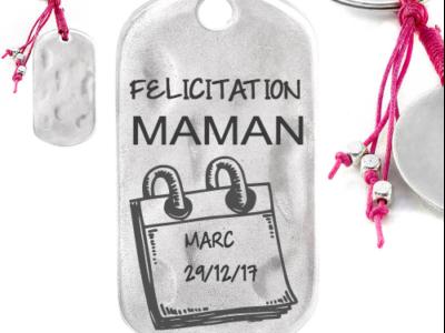 félicitation mamanpapa 400x300 - Cadeaux personnalisés : Porte-clés fuschia Félicitation maman/papa calendrier nom/date