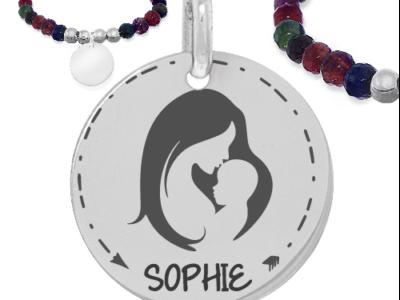femme et enfant avec prénom 1 400x300 - Cadeaux personnalisés : Bracelet multicouleurs maman et bébé