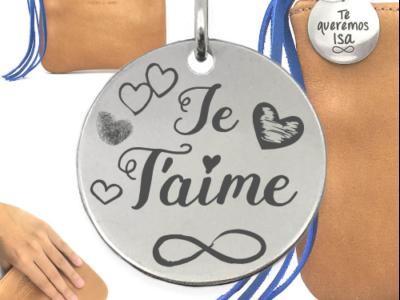 je taime infinicoeurs 400x300 - Cadeaux personnalisés : Sac en cuir authentique avec franges de cuir bleu je t'aime (coeurs/infini)