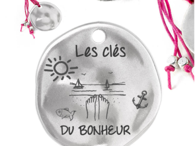 les clés du bonheur 400x300 - Cadeaux personnalisés : Porte-clés franges fuschia Les clés du bonheur
