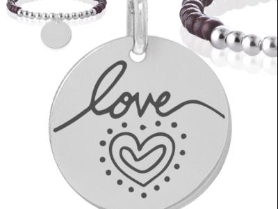 love 2 400x300 - Cadeaux personnalisés : Bracelet bois et boules argent LOVE