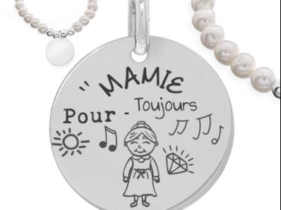 mamie pour toujours 400x300 - Cadeaux personnalisés : Bracelet boules d'argents et perles naturelles mamie pour toujours