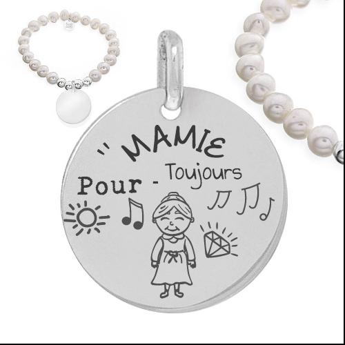 mamie pour toujours - Cadeaux personnalisés : Bracelet boules d'argents et perles naturelles mamie pour toujours