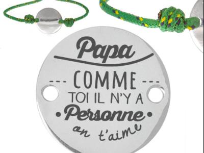 papa comme toi il y a personne 400x300 - Cadeaux personnalisés : Bracelet vert ajustable papa comme toi il n'y