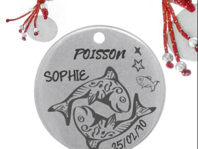 poisson astro 400x300 - Cadeaux personnalisés : porte-clés avec franges rouge, lisse poisson signe astro