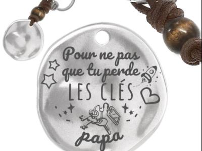 pour ne pas que tu perde les clés 400x300 - Cadeaux personnalisés : Porte-clés rond irrégulier en cuir et boule de bois pour que tu ne perdes pas