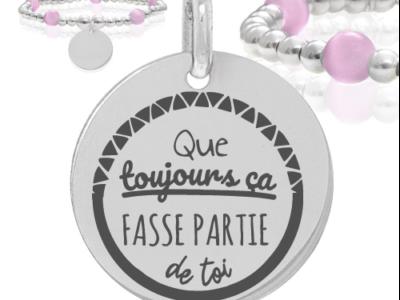 que toujours ça fasse partie de toi 400x300 - Cadeaux personnalisés : Bracelet argent et boules rose que toujours ça fasse partie de toi