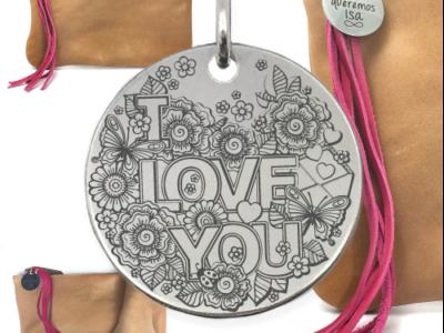 sac I love you 400x300 - Cadeaux personnalisés : Sac en cuir authentique avec franges de cuir fushia I love you