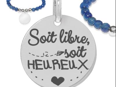 soit heureux 400x300 - Cadeaux personnalisés : Bracelet agate bleu soit libre