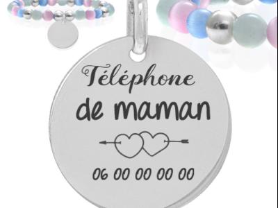 téléphone de maman 400x300 - Cadeaux personnalisés : Bracelet boules multicouleurs et boules argent téléphone maman