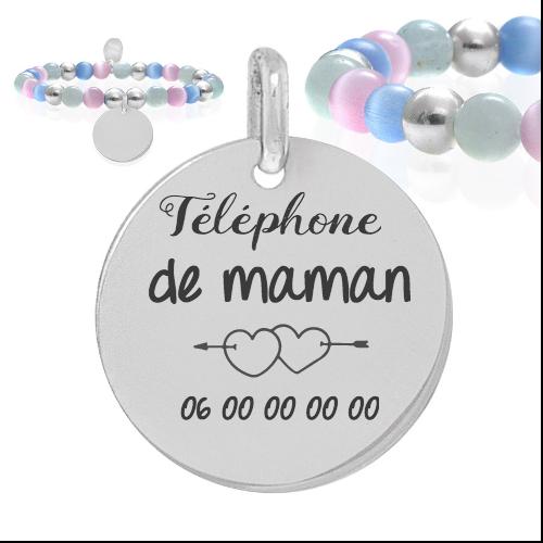 téléphone de maman - Cadeaux personnalisés : Bracelet boules multicouleurs et boules argent téléphone maman