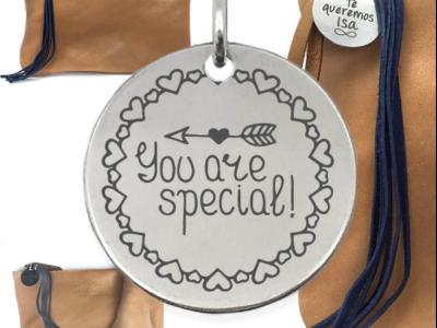 you are special 1 400x300 - Cadeaux personnalisés : Sac en cuir authentique avec franges de cuir you are special